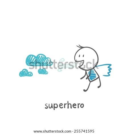 superhero blowing clouds illustration - stock vector