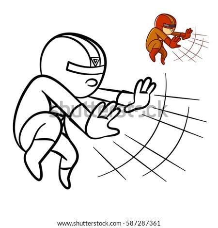 superhero boy coloring book comic character isolated on white background - Boy Coloring Book