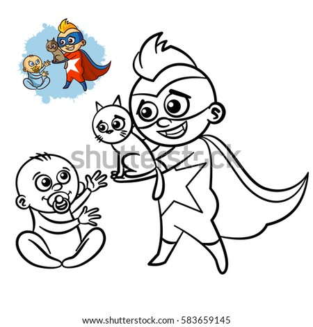 superhero boy coloring book comic character isolated on white background vector illustration - Boy Coloring Book