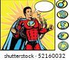 Superhero breaking chains. With vector, chains and symbols are on a separate layer and can be altered. - stock photo
