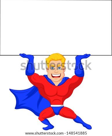 Superhero cartoon with blank sign - stock vector