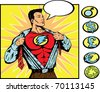 Superhero changing. With vector, crest can be removed and replaced with symbols from the side. - stock vector