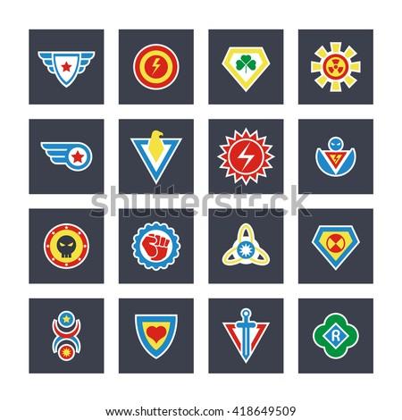 Superhero color vector badges, emblems, logos. Superhero badge icon, power and protect insignia for superhero illustration - stock vector