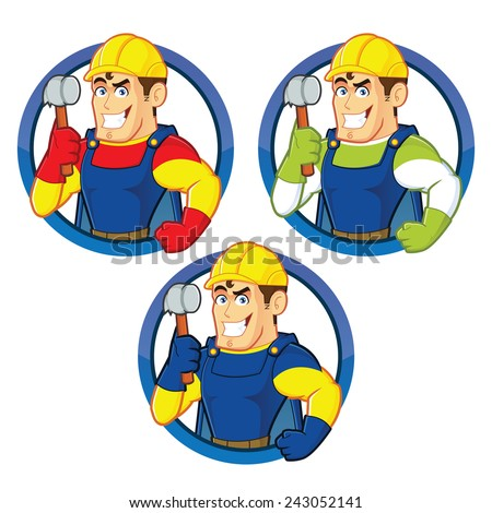 Superhero construction guy holding a hammer - stock vector