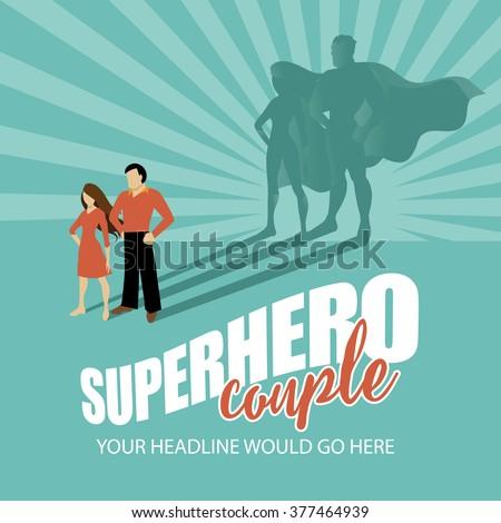 Superhero couple burst background EPS 10 vector - stock vector
