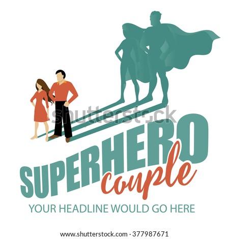 Superhero couple design template EPS 10 vector - stock vector