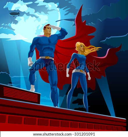 Superhero Couple. Male and female superheroes. Cloudy sky. Vector illustration - stock vector