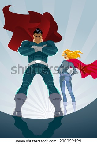 Superhero Couple: Male and female superheroes on a skyscraper roof with sunlight city background - stock vector