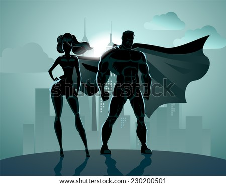 Superhero Couple: Male and female superheroes, posing in front of a light. City background. - stock vector