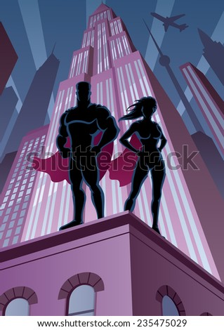 Superhero couple watching over the city.  No transparency used. Basic (linear) gradients. A4 proportions.  - stock vector
