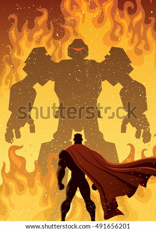 Superhero facing giant evil robot.
