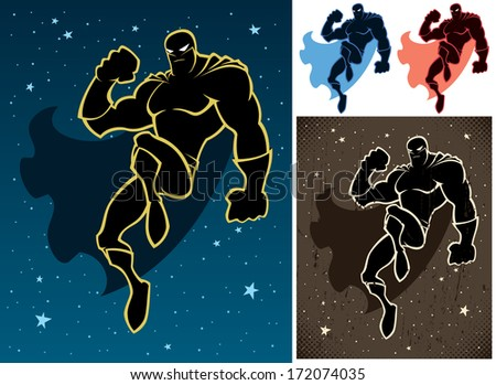Superhero floating in the sky. Retro version and versions on white background are also included.  No transparency and gradients used.   - stock vector