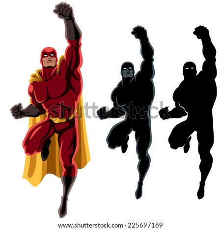 Superhero Flying 2: Flying superhero over white background. 2 additional silhouette versions. No transparency and gradients used. - stock vector