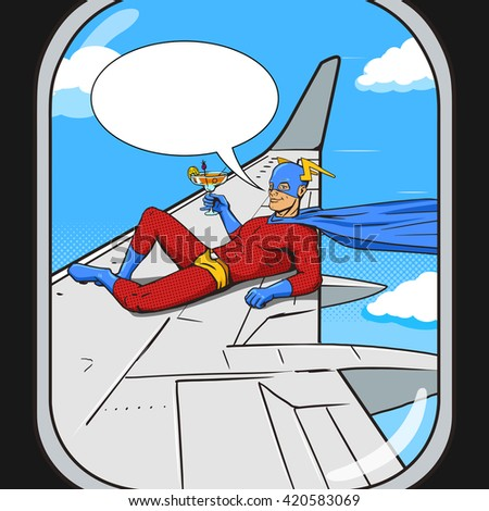 Superhero flying on airplane wing. View from an plane window.  Cartoon pop art vector illustration. Human comic book vintage retro style.  - stock vector