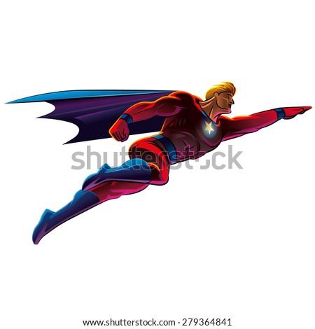 Superhero flying. Vector illustration. Isolated background - stock ... Superhero Flying Vector