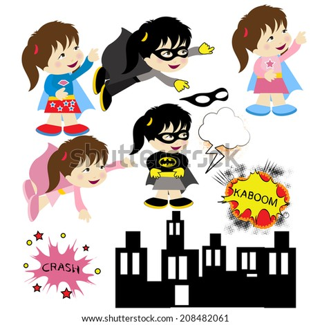 superhero girl pink character illustrations vector