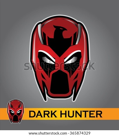 superhero head with the eagle icon at the forehead . Superhero head in the gradient red color. Alien. Predator. Artwork. Vector illustration. Superhero head illustration compose with text.  - stock vector