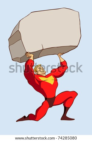 superhero in a standing pose holding a huge rock above his head - stock vector
