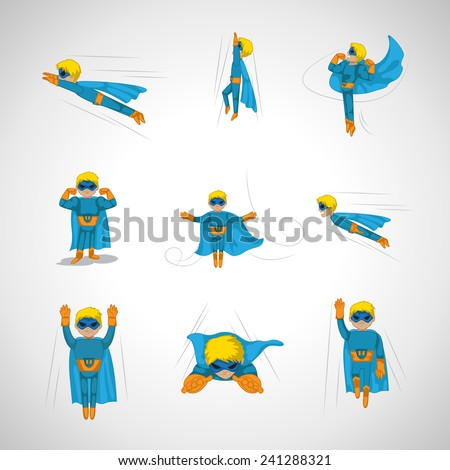 Superhero In Action Set - Isolated On Gray Background - Vector Illustration, Graphic Design, Editable For Your Design  - stock vector