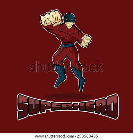 Superhero in Action vector design template