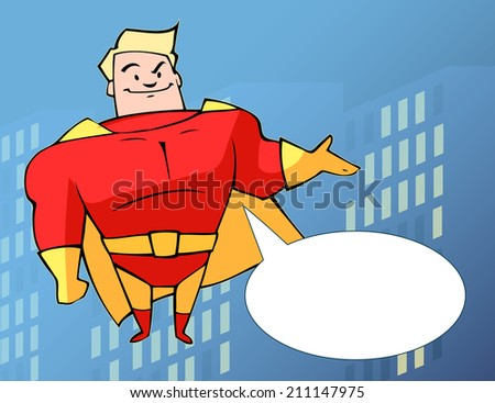 superhero in bright costume on the background of the city - stock vector