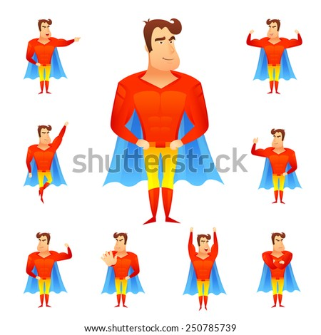 Superhero in red costume and blue cape in different poses avatar set isolated vector illustration - stock vector