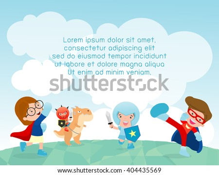 superhero kids at playground, superhero kids playing outside, Template for advertising brochure,your text ,Cute little Superhero Children's, Kids and frame,child and frame,Vector Illustration - stock vector