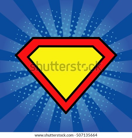 superhero logo template bright blue pop stock vector 507135664 shutterstock. Black Bedroom Furniture Sets. Home Design Ideas