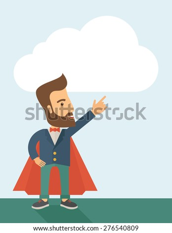 Superhero man pointing upward aiming higher sales in business. Business growth. A Contemporary style with pastel palette, soft blue tinted background. Vector flat design illustration. Vertical layout - stock vector