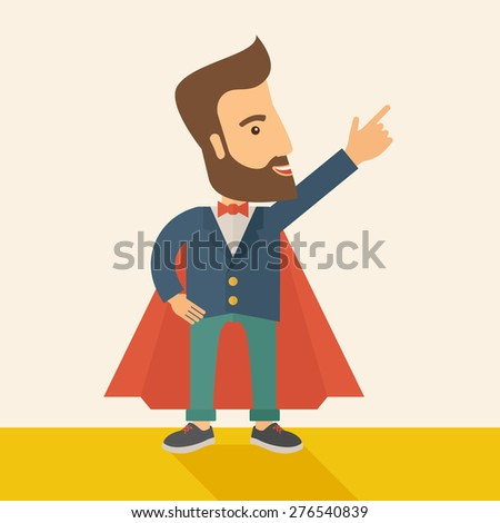 Superhero man pointing upward aiming higher sales in business. Business growth. A Contemporary style with pastel palette, soft beige tinted background. Vector flat design illustration. Square layout. - stock vector