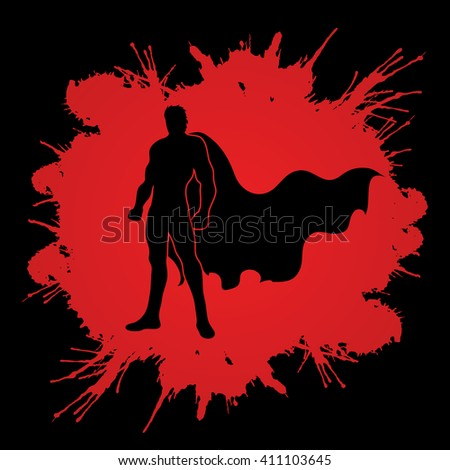 Superhero Man standing on splash blood background graphic vector.