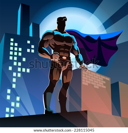 superhero on urban background - stock vector