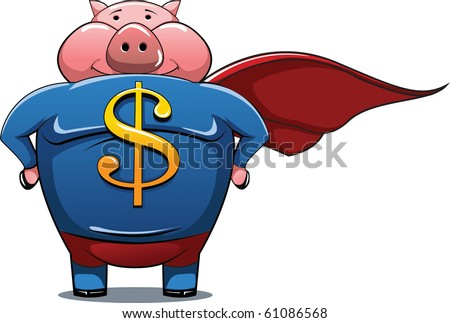 Superhero pig with Dollar sign on the shirt. - stock vector