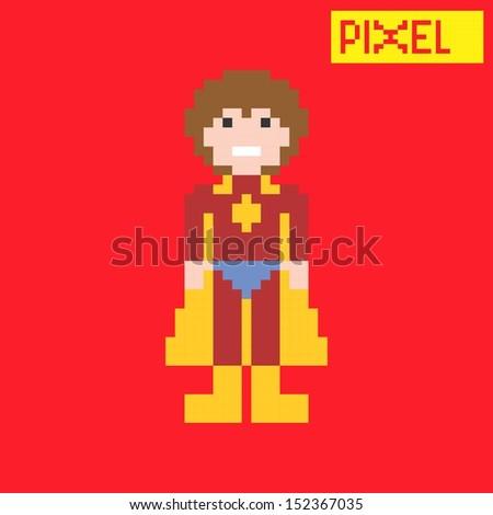 superhero pixel character - stock vector