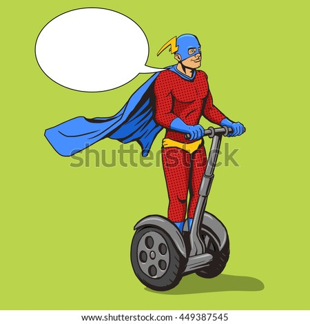 Superhero ride on two wheel electric transport. Cartoon pop art vector illustration. Human comic book vintage retro style.