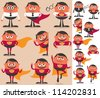 Superhero Set: Businessman who is actually superhero in disguise. 9 different poses.  On the right is the same character adapted for white background. - stock vector