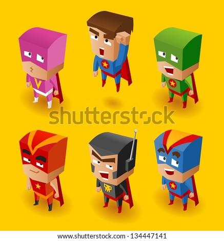 Superhero Set. Vector Illustration - stock vector