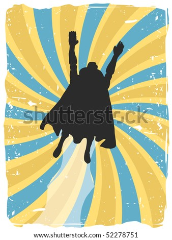 Superhero silhouette flies up through swirl grunge - stock vector