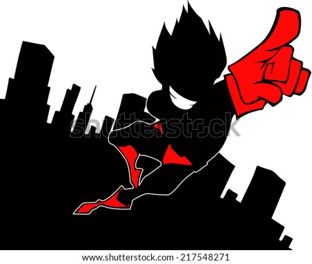 Superhero silhouette on the background of the skyscrapers - stock vector