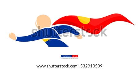 Superhero Silhouette Vector Character in Blue and red Color. Ready for Flying. Vector Illustration eps.10