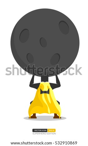 Superhero Silhouette Vector with Bat Character.  Superhero lifting weights activity. Vector Illustration eps.10