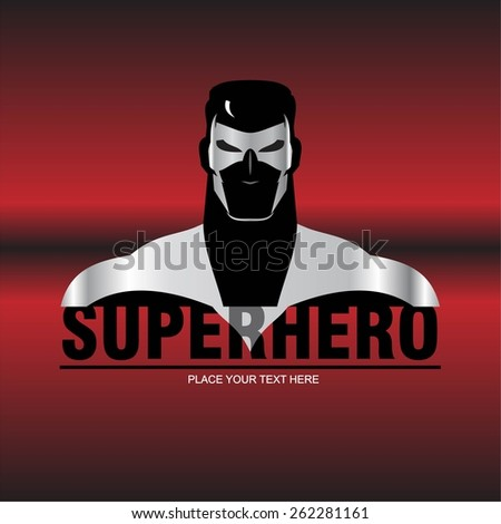 superhero. superhero with the steel  mask and steel costume. muscular man with the red metallic background.  elegant superhero silhouette compose with text. half body of superhero combine with text.  - stock vector