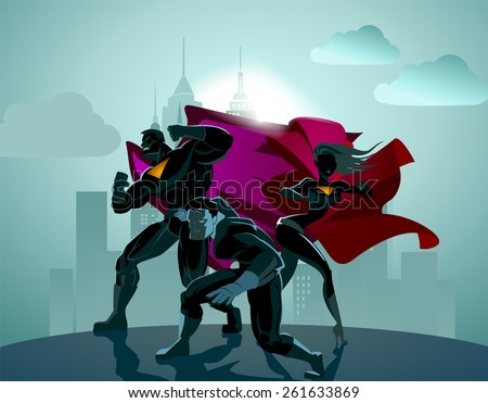Superhero Team; Team of superheroes, posing in front of a light. - stock vector
