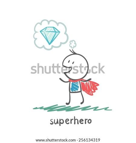 superhero thinking about gemstone illustration - stock vector