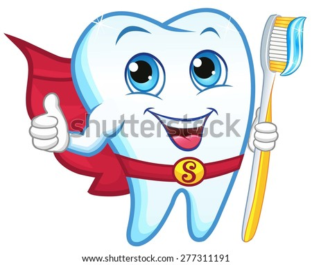 Superhero tooth holding a toothbrush, smiling - stock vector