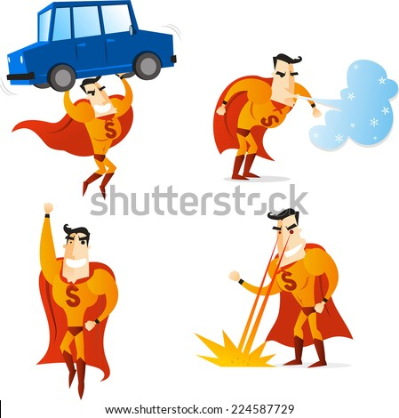 Superhero using four different powers in four different situations, lifting a car, flying, making wind and setting fire, with orange suit and cape, vector illustration. - stock vector