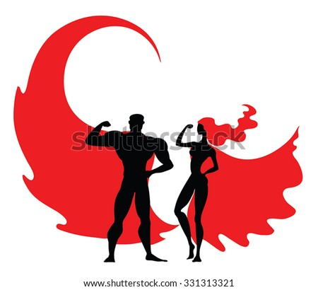Superhero vector Couple: Male and female black superheroes silhouettes wearing red cloaks. Strong arms. Superwoman with red hair. Fitness icons, healthy life symbol. Strong people vector illustration. - stock vector