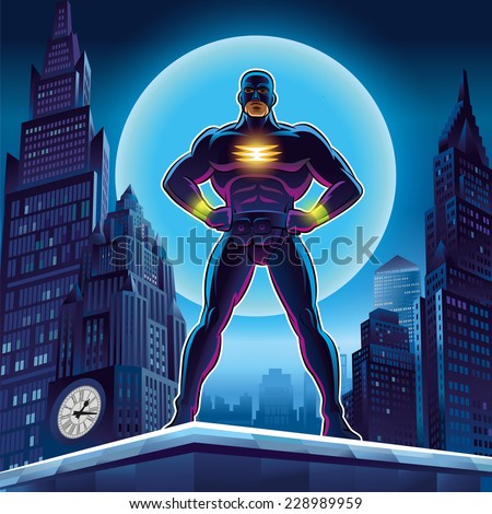 Superhero. Vector illustration on a background - stock vector