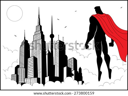 Superhero watching over city. No transparency and gradients used. - stock vector