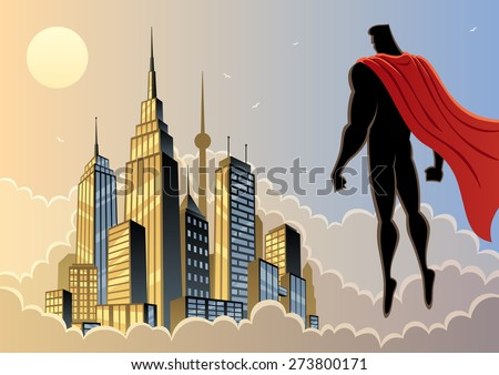 Superhero watching over city. No transparency used. Basic (linear) gradients. - stock vector